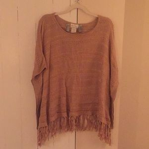 Tan Knit Shrug Poncho with Sleeves